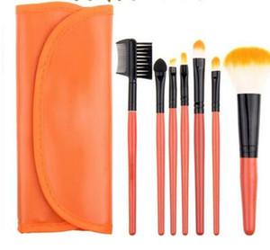 Los kits de pinceles de maquillaje más vendidos 7pcs paquete exterior monedero funda de cuero herramientas de maquillaje