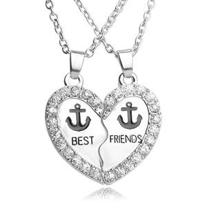 2 pezzi 1 Set Best Friends Coppia Pendente Amicizia BFF Due parti Anchor strass cuore pendente collana regali per uomo donna gioielli retrò