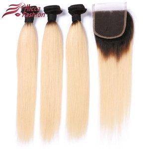 Buy 3 Bundles Get 1 closure Dream Beauty ombre blond 1b 613 Remy Hair Brazilian Straight Hair 3 Bundles With 4x4 lace Closure