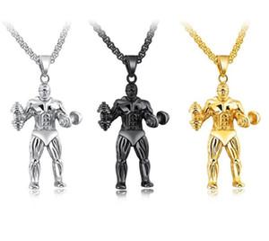 Bodybuilding Gym Fitness Mens Colliers - Or / Argent / Noir Chaîne en acier inoxydable Sport Pendentif Collier Hip Hop Bijoux