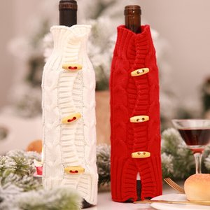 Wine Bottle Sweater Cover Bag Christmas Decoration Red and White Bottle Clothes Kitchen Decoration New Year