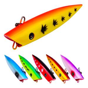 6 pc / lotto esche da pesca dipinto Lifelike Shark Popper Poper Laser Pesca del richiamo 3D occhi 6colors 69g 18cm Vivid laser esca dura Crankbaits