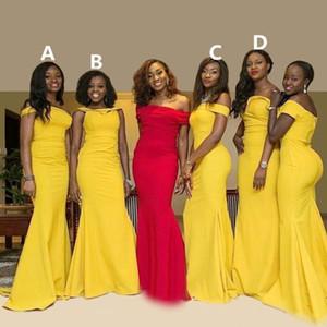 African Popular Mermaid Nigerian Bridesmaid Dresses Elegant Custom Made Sweetheart Off Shoulder Taffeta Long Bridesmaid Gowns Free Shipping
