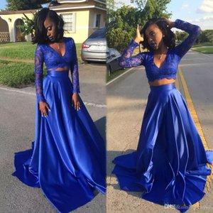 2021 Royal Blue Lace Dos Piezas Vestido de Prom Mangas Largas Satin Sur African A-Line V-Cuello Largo Graduación Arabi Formal Tarde Vestidos de fiesta