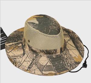 летние мужчины рыбалка шляпа Камуфляж сетка Sunhat рыбак ведро шляпы кленовый лист kryptek шляпы охладиться Cowboy колпачок