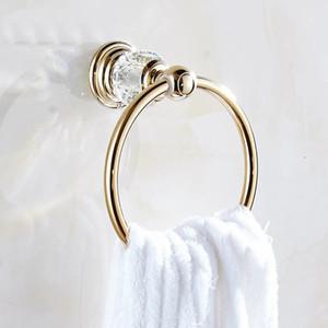 ванная комната полотенце кольца роскошные Кристалл латунь золото полотенце держатель ванна полотенце бар аксессуары для ванной комнаты украшения дома