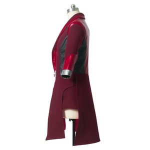 Avengers Scarlet Cadı Cosplay Kostüm Kırmızı Uzun Ceket Cadılar Bayramı