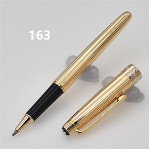 Penna di lusso di alta qualità MB Brand linee dorate in metallo penne a sfera / penna a rollerball stazionario AG925 Penne regalo