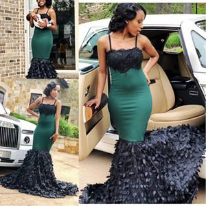 2018 vestidos de fiesta de encaje sirena verde oscuro africano para niñas negras correa de espagueti flores 3D más tamaño vestidos de fiesta de noche 2K17