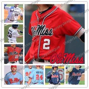 Ole Miss Rebels Sıcak Satış # 2 Ryan Olenek 6 Thomas Dillard 14 Cole Zabowski Dikişli NCAA Koleji Beyzbol Beyaz Kırmızı Mavi Formalar