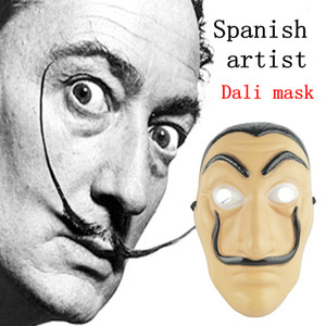 La Casa De Papel Maschera Salvador Dali Plastica Cosplay Maschera Halloween Realistico Adult Party Puntelli maschere