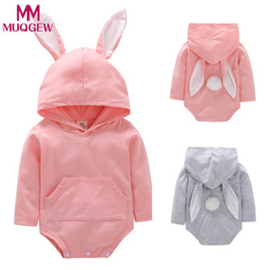 MUQGEW Baby Girls Boys Romper Jumpsuit Hooded Outfits Autumn Winter costume Animal Toddler Infant PomPom Cartoon Rabbit Ear