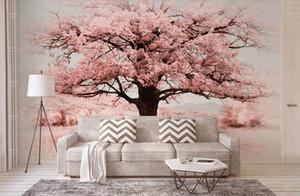 Personalizado 3d papel de parede murais Simples Rosa paisagem mural papel de parede escritório sala de estar TV decoração parede papel de parede à prova de som