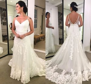 Vestito da sposa 2018 Elegantes vestidos de novia Correas espaguetis Sin mangas Sin espalda Encaje Appliqeud Bow Tren de barrido Vestidos de novia Por encargo