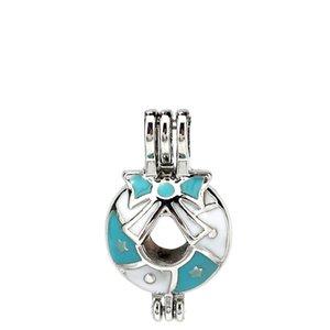 Esmalte de plata Feliz Navidad Bowknot Bell Ostras Perlas Jaula Medallón Colgante Aromaterapia Perfume Aceites esenciales Difusor
