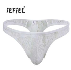 IEFiEL Hot Brand Mens Sexy ropa interior de encaje para hombre Briefs U bolsa convexa Gay Men Underwear Underpants lencería sexy bragas masculinas