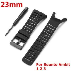 Con la herramienta de 23mm Negro correa de silicona deportivo reloj de pulsera correa de hebilla Para Suunto / Ámbito 3/2 Ambit Ver Accesorios