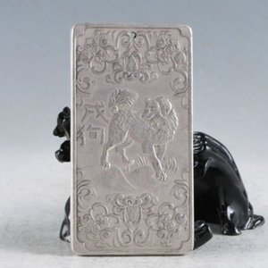 Тибет Серебряный Ручной Резной Собака (Двенадцать Зодиакальных Созвездие) Кулон