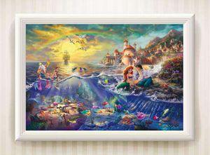Thomas Kinkade de la pequeña sirena, pintura al óleo de reproducción de alta calidad Lámina Impresión en lienzo Modern Home Decor Arte