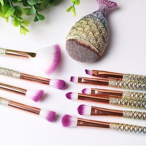 1-11 Pcs / pack Brosses De Maquillage De Sirène Set Power Foundation Mélange Ombre À Paupières Contour Blush Visage Beauté MakeUp Brush Tool Kit