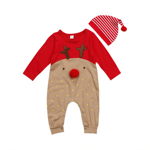 Lindo muchachas de los bebés del reno de mono mamelucos a rayas sombrero 2 piezas Conjunto ropa Trajes niño recién nacido puntos pijamas ropa de Navidad