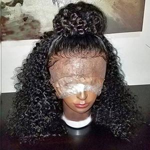 360 Dantel Frontal Peruk kinky kıvırcık Öncesi Koparıp Hairline 360 Dantel Ön İnsan Saç Peruk Siyah Kadınlar için Kıvırcık Saç Peruk (12 inç 150% Yoğunluk