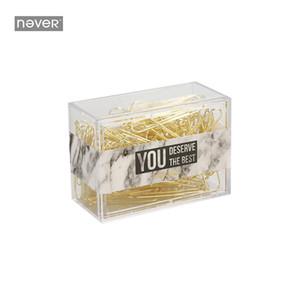Nunca Mármol Clip de papel Kawaii Metal Clips de papel Clips de documento de oro Accesorios de oficina de negocios de moda Material escolar
