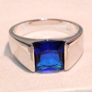 Ücretsiz kargo 100% Marka Ne Sz 8-12 Mücevherat Antik erkek 925 Gümüş Prenses Kesim Safir Alyans için aşk hediye