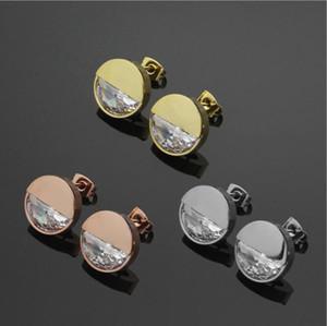 2021 Girls Moda de alta calidad Boda 316L Titanio Acero Gold Rose Gold Big Diamond Letra Pendientes Drop Hangle for Women Lady Cumpleaños Regalo