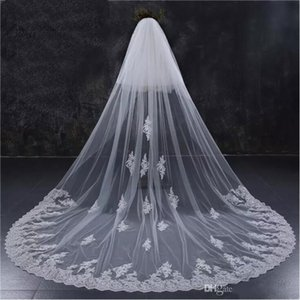 2018 New Two Layers Full Edge with Lace Luxury 3 Meters Long Wedding Veil with Comb White Ivory Bridal Veil Velos De Novia