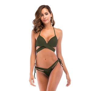 New Strap Sexy Bikinis Set Backless Summer Beach Wear Europe America Style wimsuit Low Waist Women Water Sports Swimwear Sexy Bikinis Sets