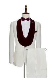 Red Velvet Shawl Lapel Ivory 3 Piece Suit Groom Tuxedos Man Wedding Suit Men Business Prom Excellent Blazer(Jacket+Pants+Tie+Vest) 1210
