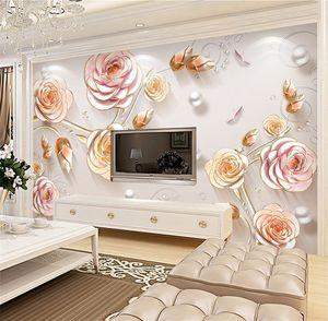 Rosa gravado Europeia 3D Flower Rose Mural Wallpaper foto para o fundo Sala TV Wall Decor Murais Wallcoverings