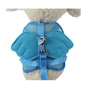Dog Adjustable Traction Rope Vest Harness Mesh Breathable Chest Strap Pet Vest Leash Lead Leash with Angel Wings