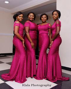 2018 Plus Size Vestidos de Dama de Honra Longo Fora Do Ombro Talão Vestidos Sereia Desgaste da Noite Vestido De Damas De Honra Do Casamento Africano Nigéria Vestido