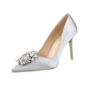 ew formal banquet wedding shoes Korean rhinestone high-heeled sexy thin shallow mouth pointed buckle single shoes professional women's shoes
