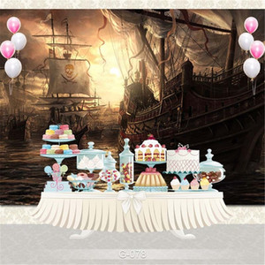 Navires Pirate océan Enfants scène Photographie Imprimé Fonds Nightfall Coucher de soleil Paysage Enfants Garçons Birthday Party Photo Booth Backdrop