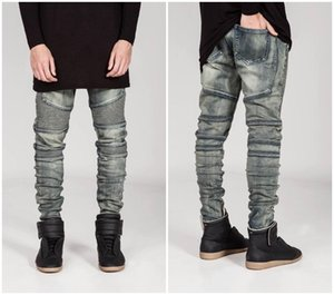 Wholesale-New mens Biker Jeans Motorcycle Slim Fit Washed yellow Black Grey Blue Moto Denim skinny Elastic Pants Joggers For Men jeans