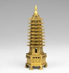 중국 티베트 불교 사원 황동 Wenchang 타워 체디 stupa 파고다 동상 가정 장식 금속 수공예품