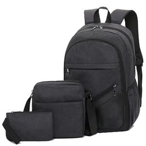 Рюкзак 3-х частей Бизнес Компьютер рюкзак досуг Дорожная сумка для мужчин и женщин High School Student Schoolbag