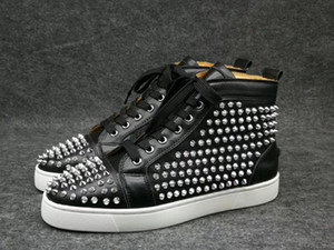 Wholesale 2018 Black Glitter Rivets Men Red Bottoms Shoes High Top Genuine Leather Brand Designer Casual Flat Margiela Sneakers big size