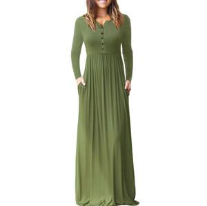 Art und Weise volles Kleid reine Farbe Hülsenkopf Runder Kragen Lange Ärmel Hohe Taille Haben Sie eine Tasche Stil der Frauen Kleid Damenbekleidung 610483