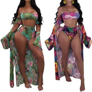 Kadınlar 2018 tek parça Mayo Seksi Plaj Kıyafeti Bikini set Mayo Artı Boyutu Sling Mayo + Uzun Kollu Plaj Cover up sarong