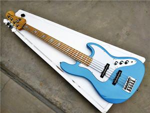 공장 도매 GYJB - 5004 스카이 블루 컬러 화이트 플레이트 크롬 하드웨어 EMG 픽업 5 문자열 재즈베이스 일렉트릭 기타, 무료 배송