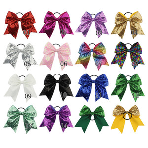 8 inches Solid Ribbon Cheer Bow For Girls Kids Boutique Large Cheerleading Hair Bow Children sequined Hair Accessories