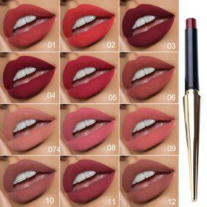 CmaaDu Gold Tube Matte Lipstick 12 colores Matte Lipstick Labios profesionales Suministros de maquillaje Marca Comestic Supply Maquillaje Lipgloss