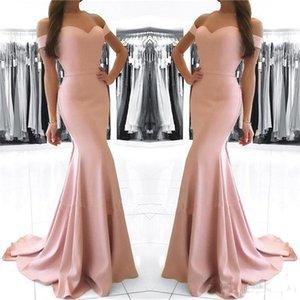 Blush Pink Mermaid Prom Dresses Long 2018 Off hombro Sexy Backless piso longitud vestidos formales vestidos de noche robe de soirée
