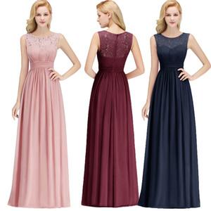 Chegada nova Blush Rosa Azul Marinho Borgonha da Dama De Honra Vestidos Lace Chiffon Até O Chão Beach Garden Maid of Honor Vestido Sob $ 50 CPS1067
