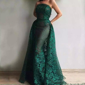 Green Mermaid Prom Dresses Abnehmbarer Zug Trägerlose Applikationen Perlen Lange Abendkleider Celebrity Dress Dubai Abric Abend Party Wear
