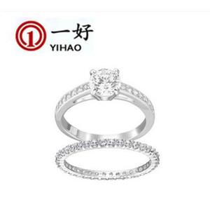 2 UNIDS / CONJUNTO Clásico de una hilera de diamante de cuatro garras solo anillo de diamante S925 plata esterlina Pareja Anillos W14